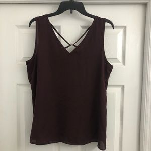 Maurices Tops - Maurices Chifon Maroon Tank Top